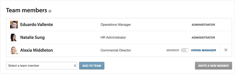 Hiring team roles | Features