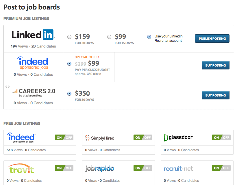 Post to job boards