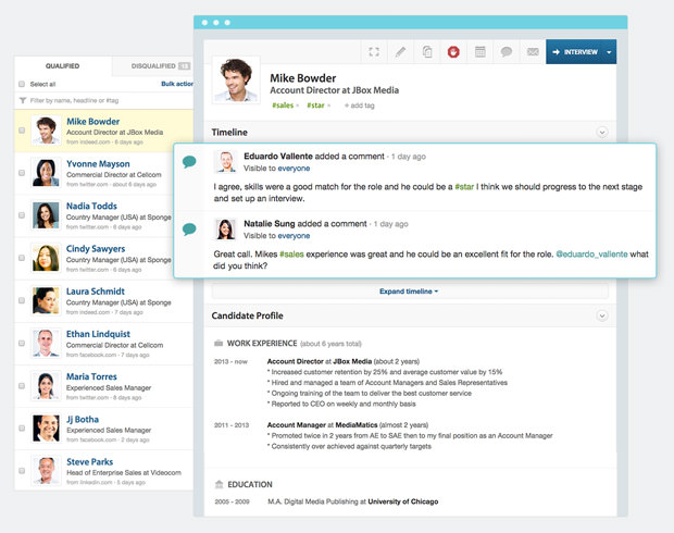 Workable's candidate profile